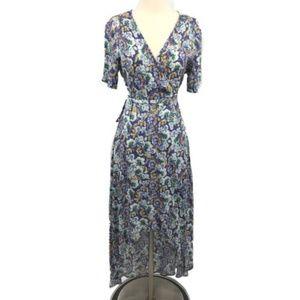 ASTR Maxi Dress M Floral Ruffle Wrap Surplice Neck